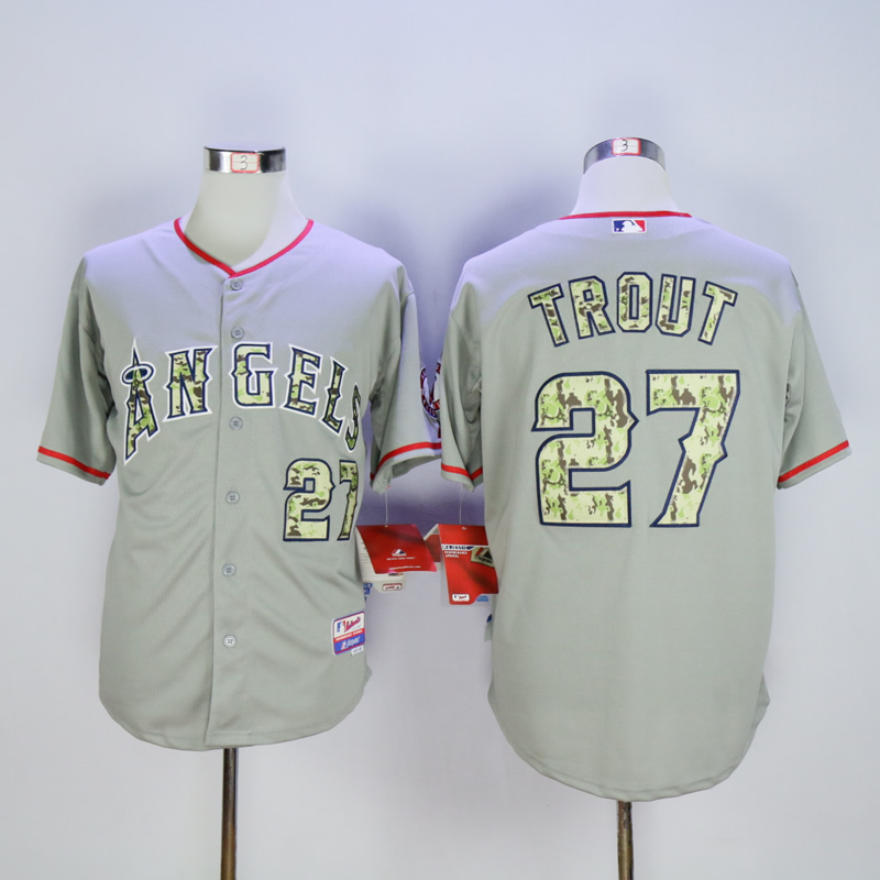 Men Los Angeles Angels 27 Trout Grey Camo MLB Jerseys