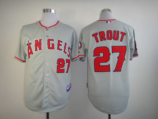 Men Los Angeles Angels 27 Trout Grey MLB Jerseys