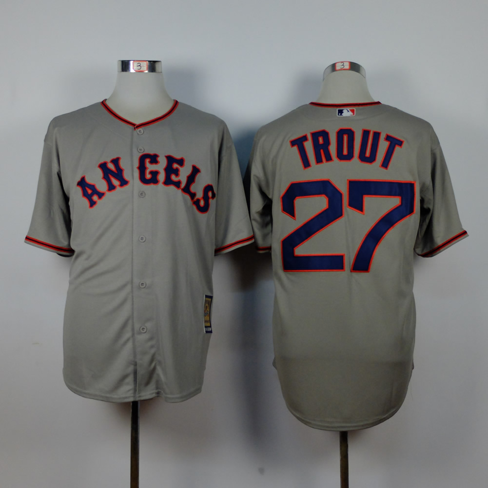 Men Los Angeles Angels 27 Trout Grey Throwback MLB Jerseys