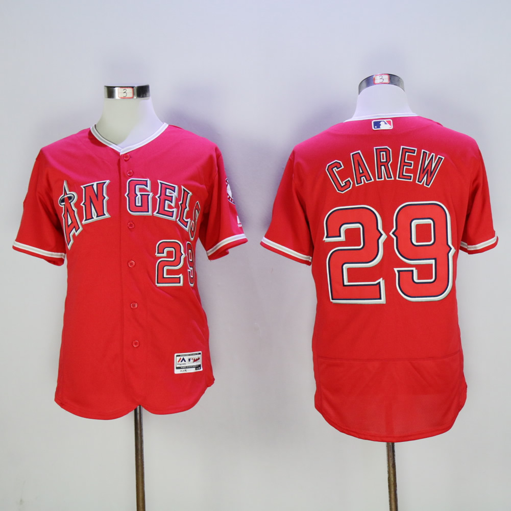 Men Los Angeles Angels 29 Carew Red MLB Jerseys