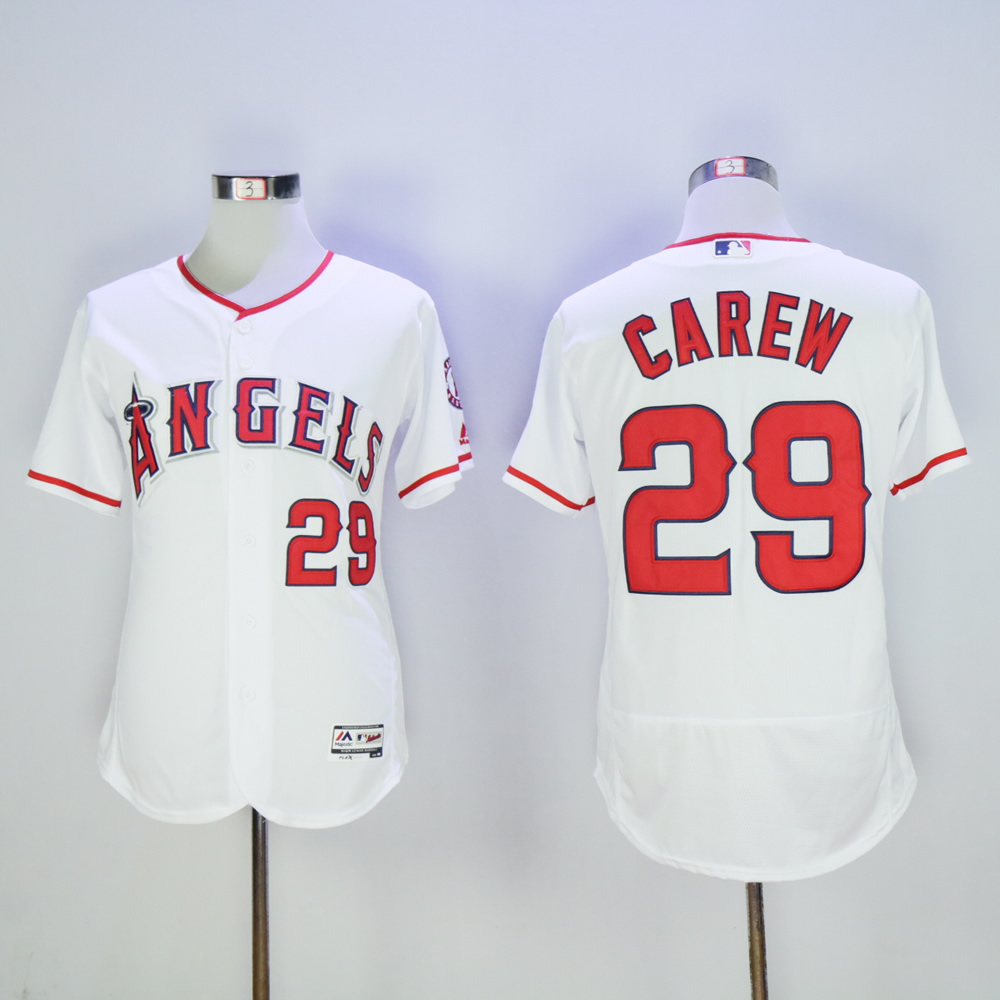 Men Los Angeles Angels 29 Carew White MLB Jerseys