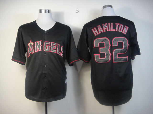 Men Los Angeles Angels 32 Hamilton Black MLB Jerseys