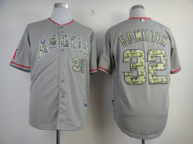 Men Los Angeles Angels 32 Hamilton Grey Camo MLB Jerseys