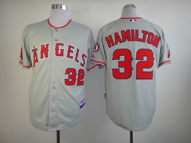 Men Los Angeles Angels 32 Hamilton Grey MLB Jerseys