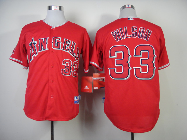Men Los Angeles Angels 33 Wilson Red MLB Jerseys