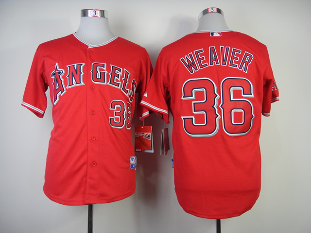 Men Los Angeles Angels 36 Weaver Red MLB Jerseys