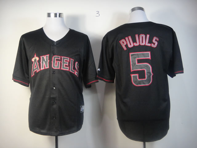 Men Los Angeles Angels 5 Pujols Black MLB Jerseys