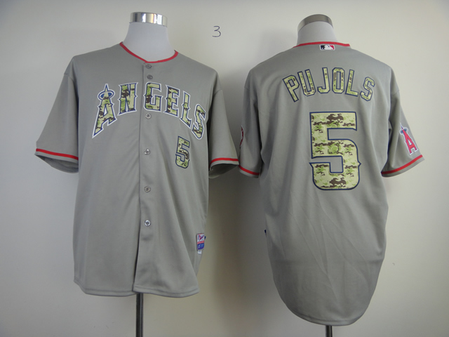 Men Los Angeles Angels 5 Pujols Grey Camo MLB Jerseys