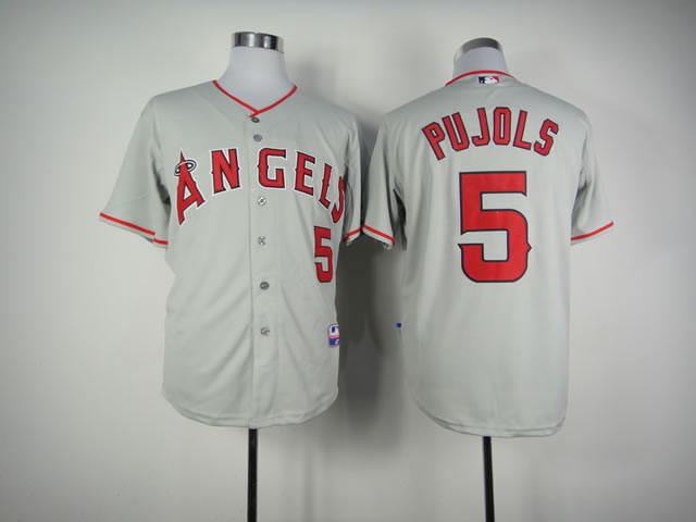 Men Los Angeles Angels 5 Pujols Grey MLB Jerseys