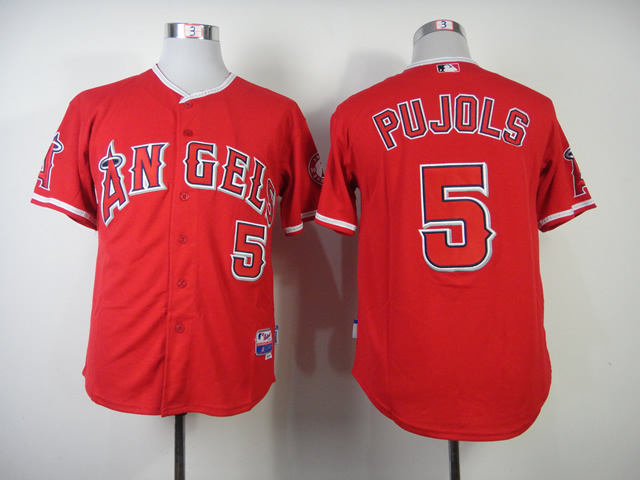 Men Los Angeles Angels 5 Pujols Red MLB Jerseys