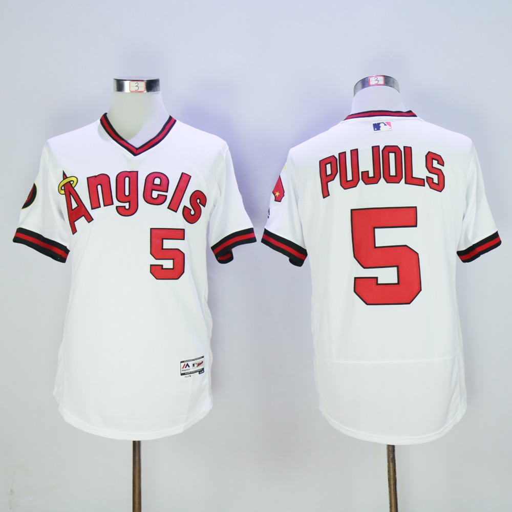 Men Los Angeles Angels 5 Pujols White Throwback MLB Jerseys