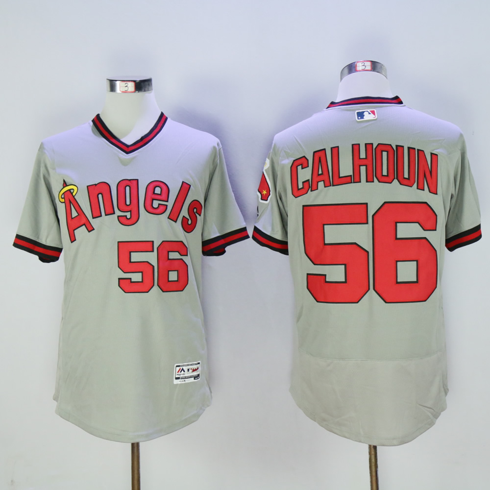 Men Los Angeles Angels 56 Calhoun Grey Throwback MLB Jerseys