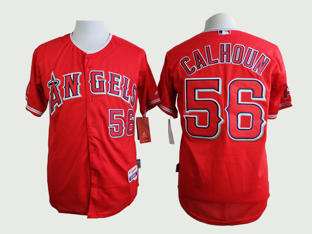 Men Los Angeles Angels 56 Calhoun Red MLB Jerseys