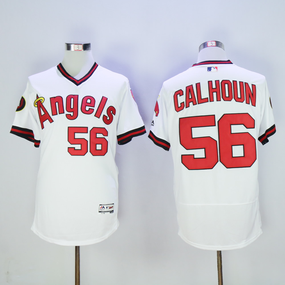 Men Los Angeles Angels 56 Calhoun White Throwback MLB Jerseys
