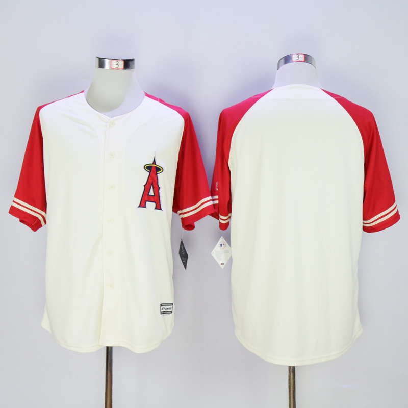 Men Los Angeles Angels Blank Cream Throwback MLB Jerseys