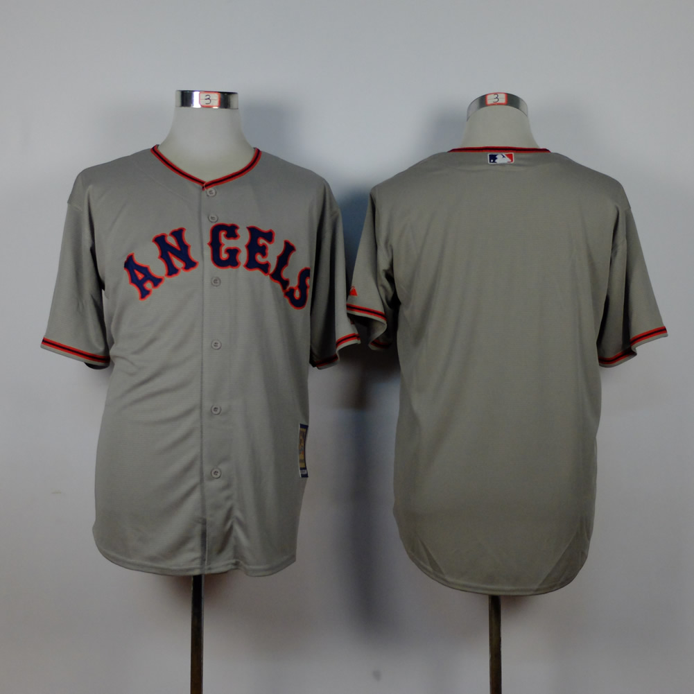 Men Los Angeles Angels Blank Grey Throwback MLB Jerseys