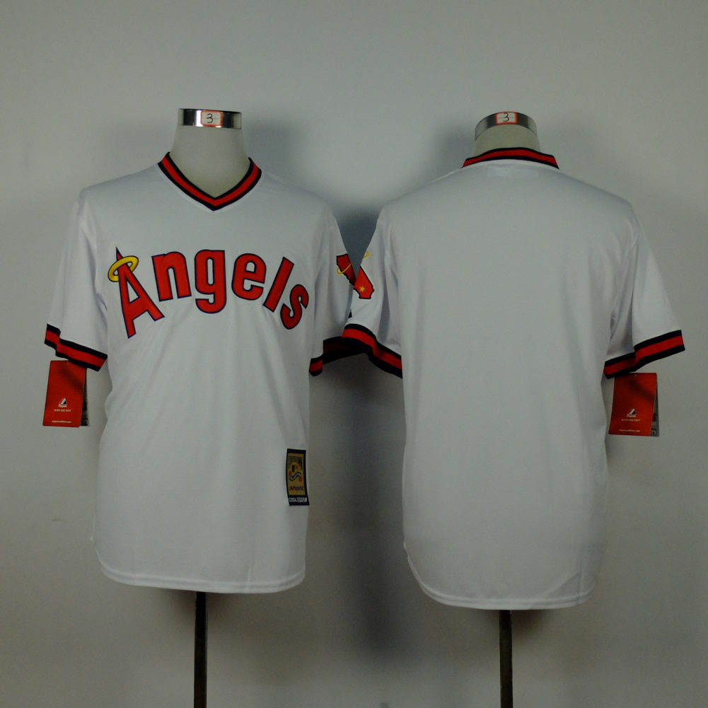 Men Los Angeles Angels Blank White Throwback MLB Jerseys