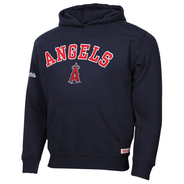 Men Los Angeles Angels of Anaheim Stitches Fastball Fleece Pullover Hoodie Navy Blue