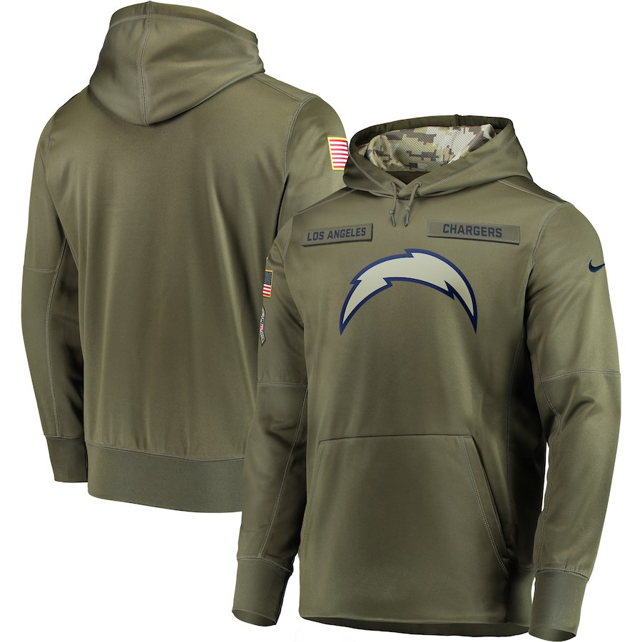 Men Los Angeles Chargers Nike Olive Salute To Service KO Performance Hoodie Green