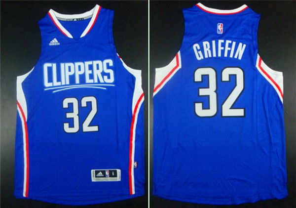 Men Los Angeles Clippers 32 Griffin Blue Adidas NBA Jerseys