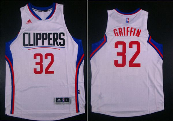 Men Los Angeles Clippers 32 Griffin White Adidas NBA Jerseys