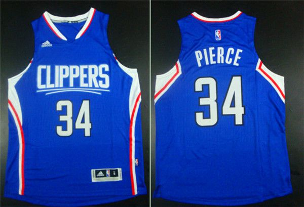 Men Los Angeles Clippers 34 Pierce Blue Adidas NBA Jerseys