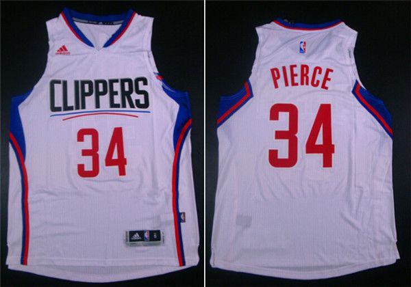 Men Los Angeles Clippers 34 Pierce White Adidas NBA Jerseys