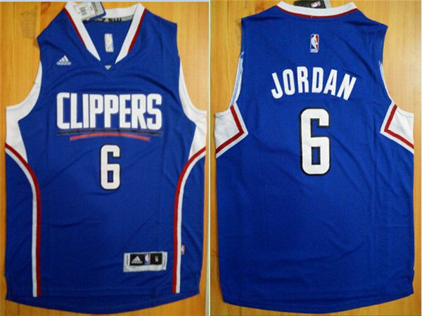 Men Los Angeles Clippers 6 Jordan Blue Adidas NBA Jerseys