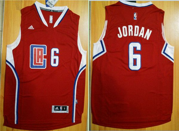 Men Los Angeles Clippers 6 Jordan Red Adidas NBA Jerseys