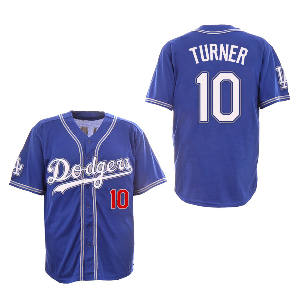 Men Los Angeles Dodgers 10 Turner Blue Fashion Edition MLB Jerseys