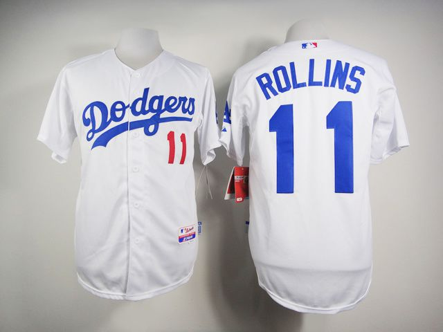 Men Los Angeles Dodgers 11 Rollins White MLB Jerseys