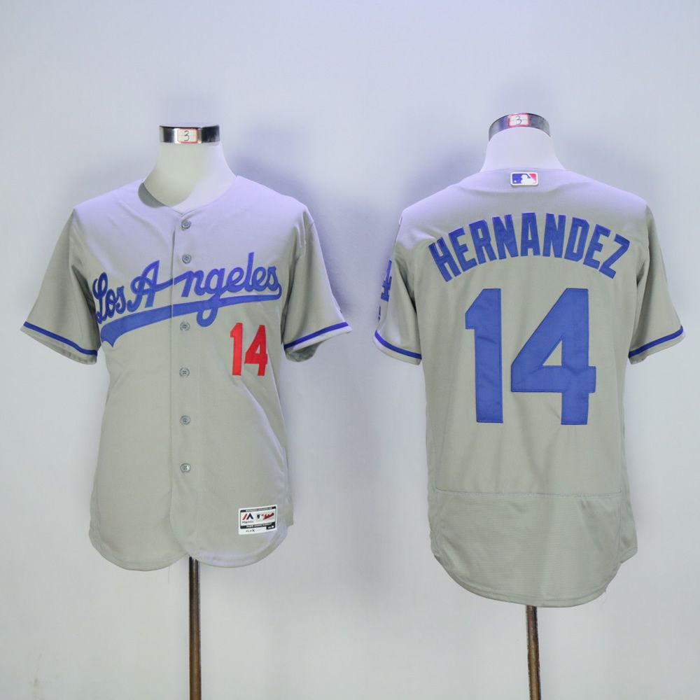 Men Los Angeles Dodgers 14 Hernandez Grey MLB Jerseys