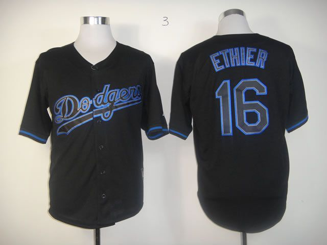 Men Los Angeles Dodgers 16 Ethier Black MLB Jerseys