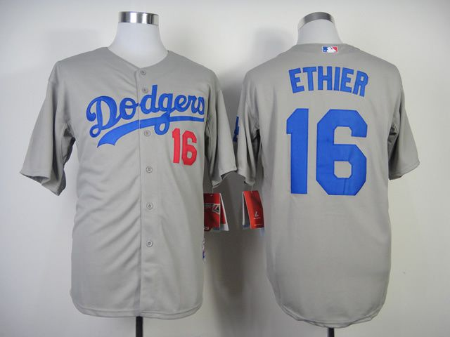 Men Los Angeles Dodgers 16 Ethier Grey MLB Jerseys