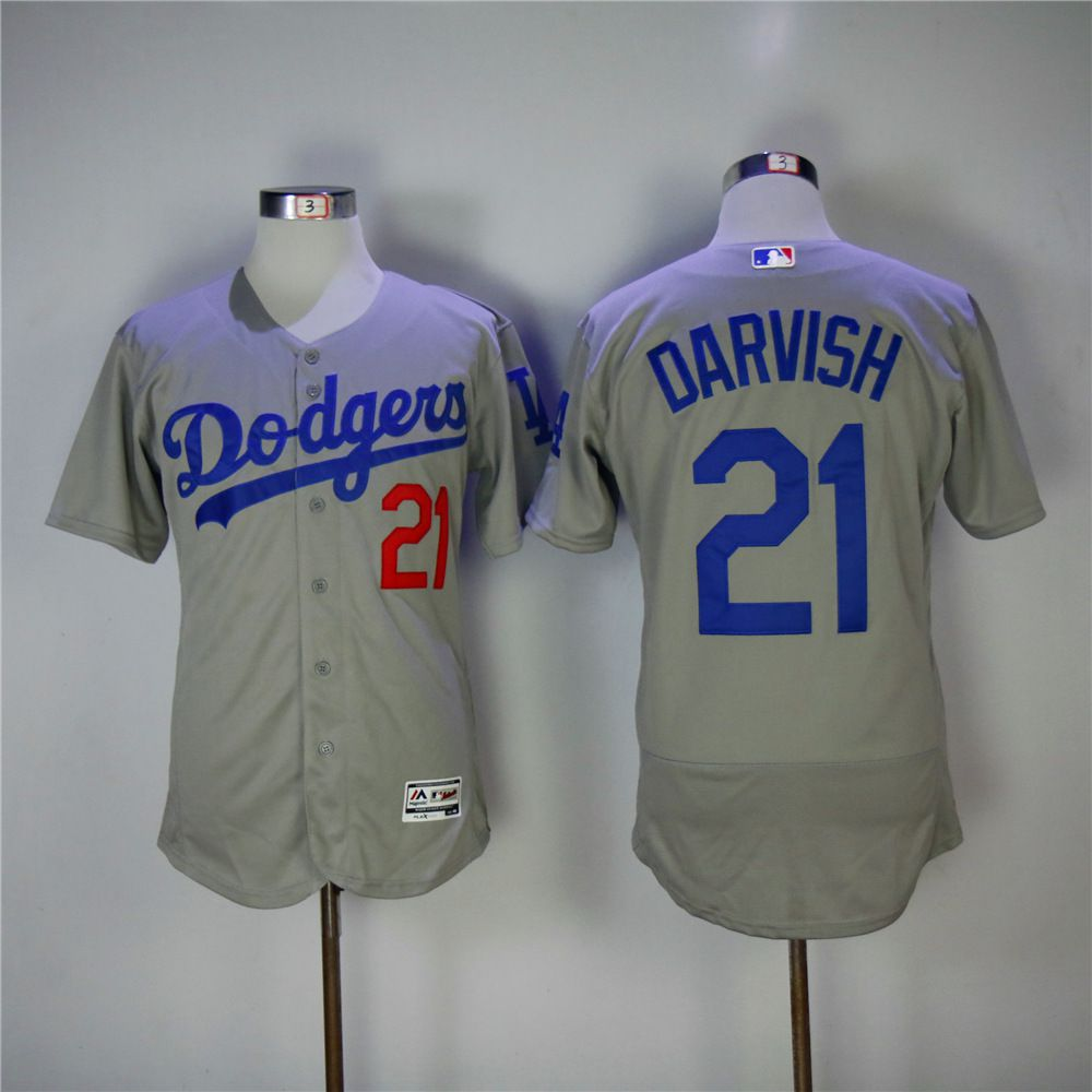 Men Los Angeles Dodgers 21 Darvish Grey Elite MLB Jerseys
