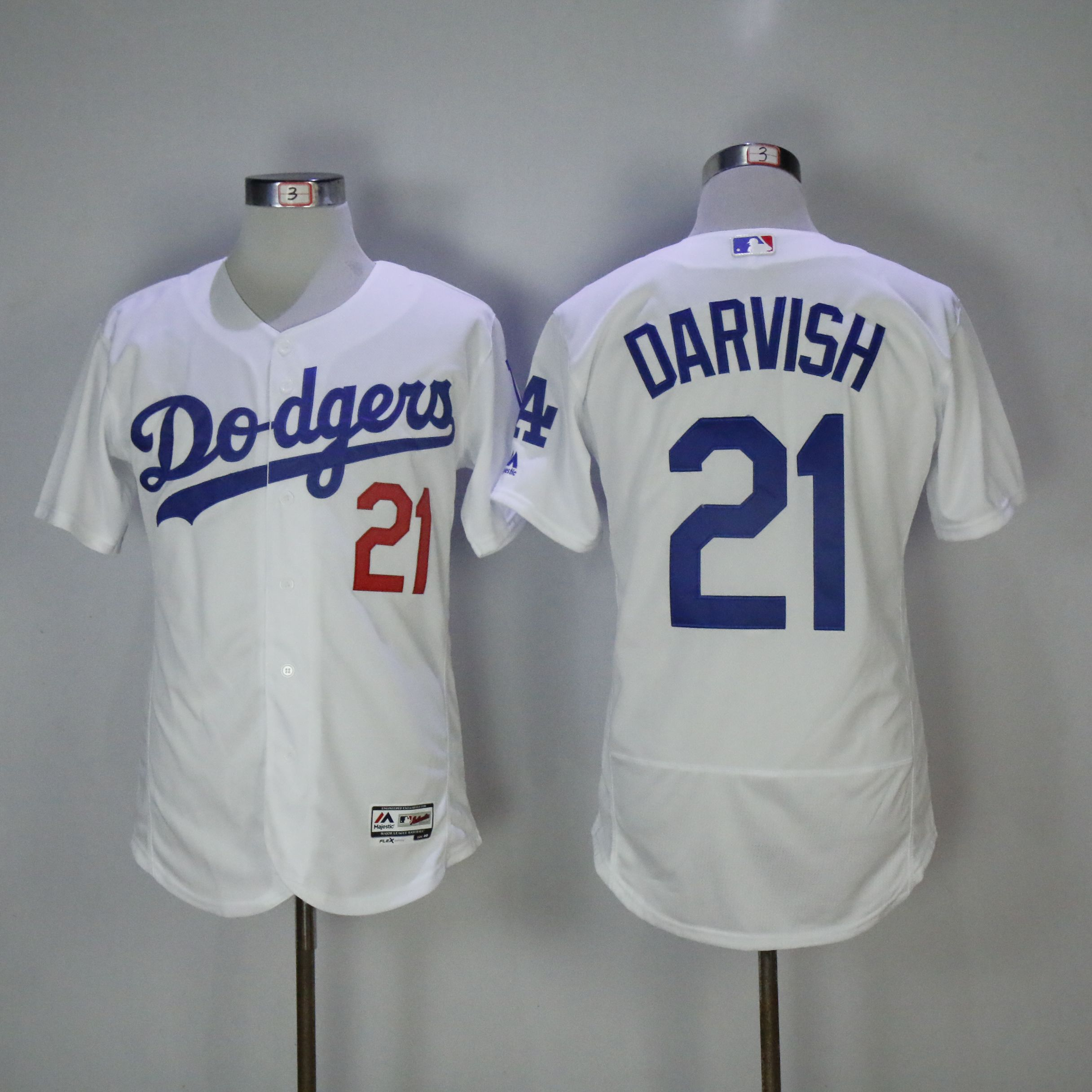 Men Los Angeles Dodgers 21 Darvish White Elite MLB Jerseys