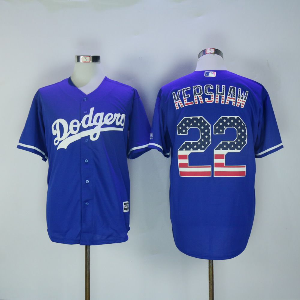 Men Los Angeles Dodgers 22 Kershaw Blue National flag MLB Jerseys