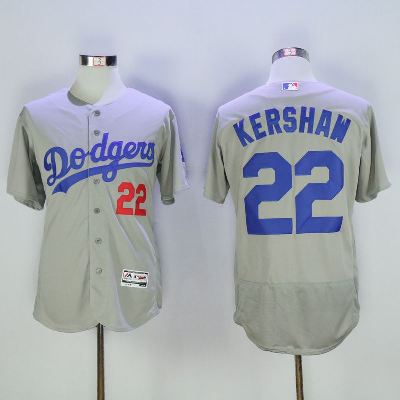 Men Los Angeles Dodgers 22 Kershaw Grey Elite MLB Jerseys