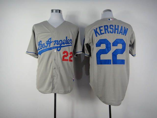Men Los Angeles Dodgers 22 Kershaw Grey MLB Jerseys