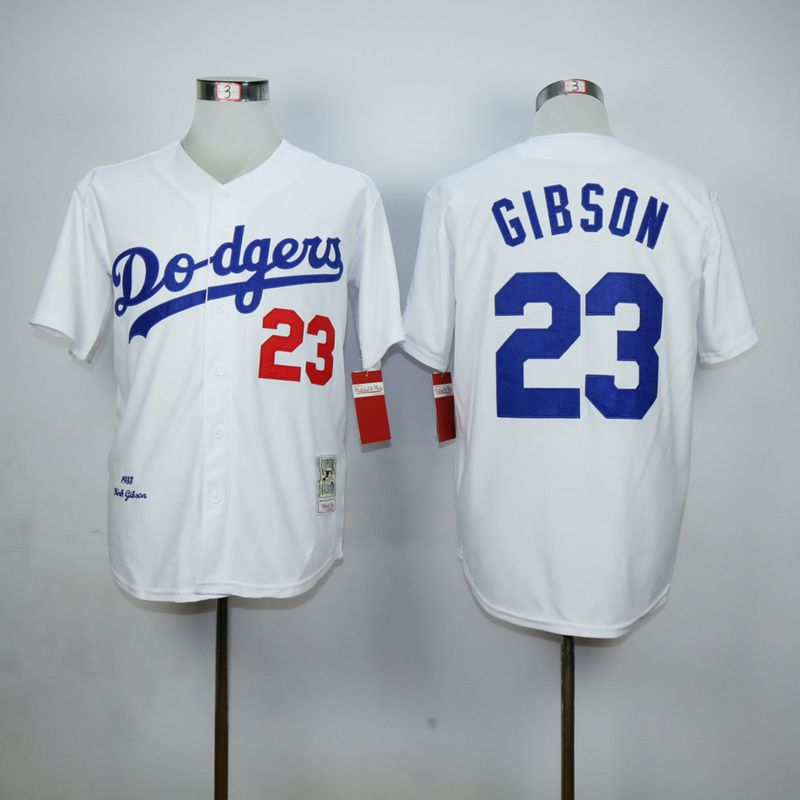 Men Los Angeles Dodgers 23 Gibson White Throwback MLB Jerseys
