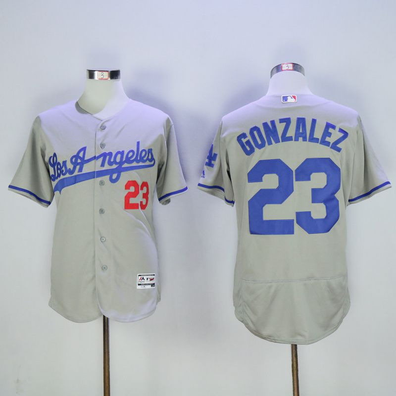 Men Los Angeles Dodgers 23 Gonzalez Grey MLB Jerseys1