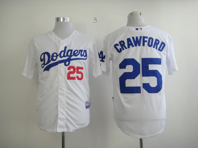 Men Los Angeles Dodgers 25 Crawford White MLB Jerseys