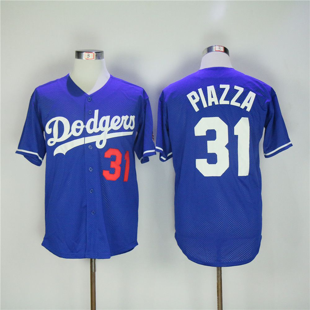 Men Los Angeles Dodgers 31 Piazza Blue Throwback MLB Jerseys