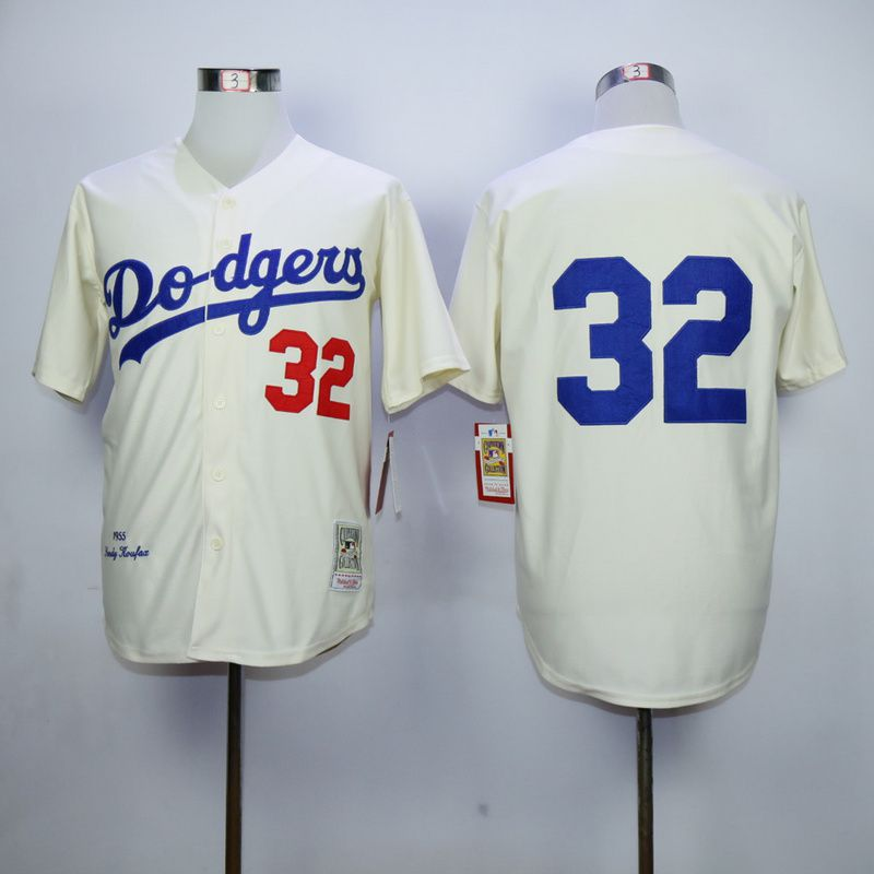Men Los Angeles Dodgers 32 Koufax Cream Throwback 1955 MLB Jerseys
