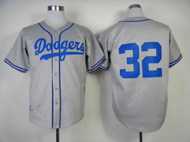 Men Los Angeles Dodgers 32 Koufax Grey Throwback 1955 MLB Jerseys