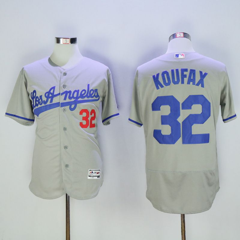 Men Los Angeles Dodgers 32 Koufax Grey Throwback MLB Jerseys