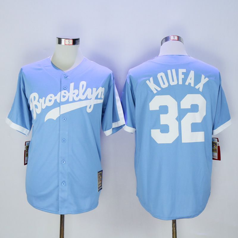 Men Los Angeles Dodgers 32 Koufax Light Blue Throwback MLB Jerseys