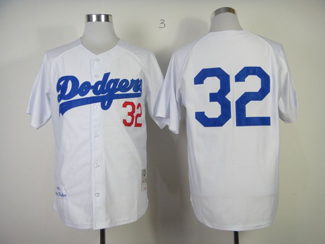 Men Los Angeles Dodgers 32 Koufax White Throwback 1955 MLB Jerseys
