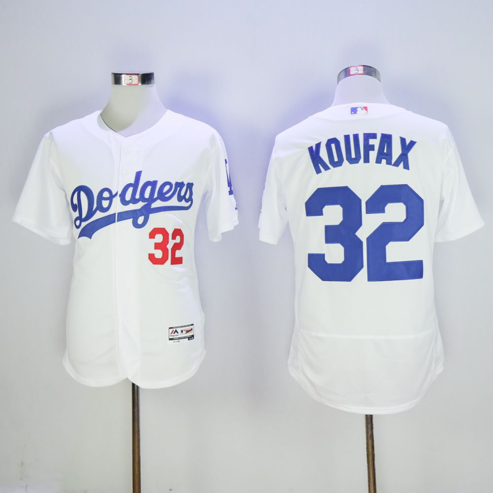 Men Los Angeles Dodgers 32 Koufax White Throwback MLB Jerseys