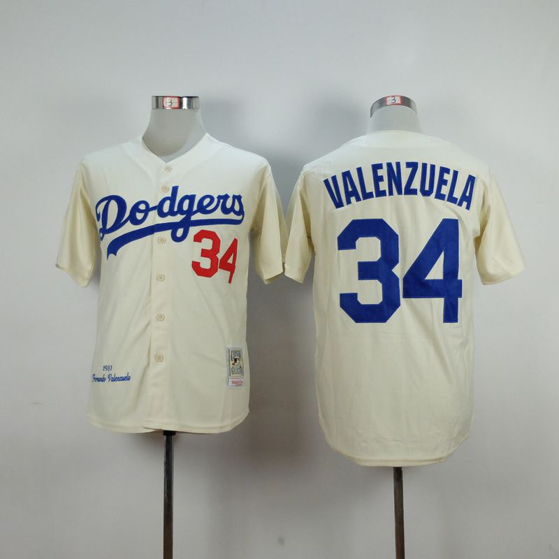 Men Los Angeles Dodgers 34 Valenzuela Cream Throwback MLB Jerseys